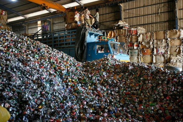 Recycling warehouse, big distribution for aluminium cans, and general metals, on the edge of Phnom Penh